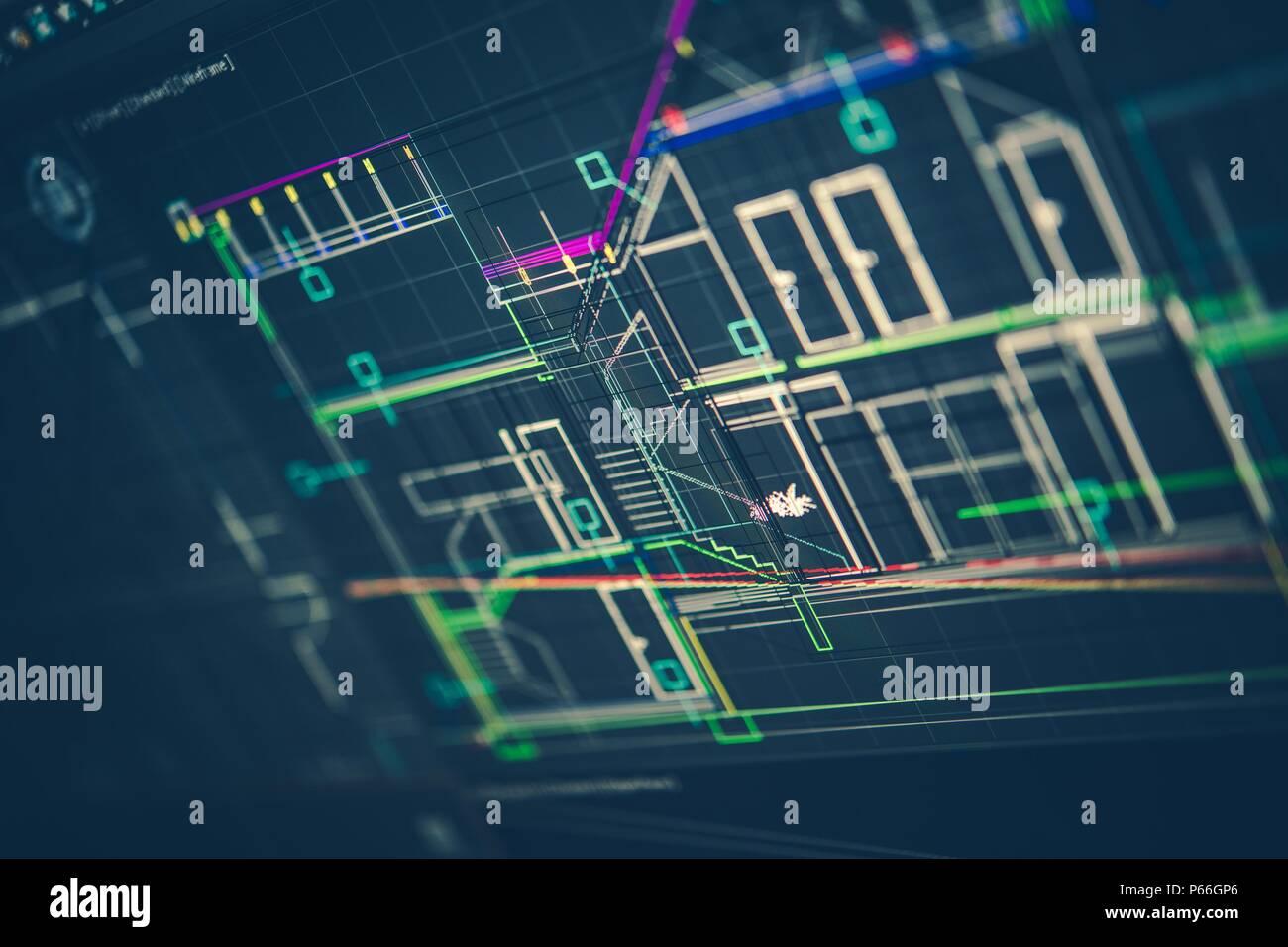 Dessin technique darchitecture sur lécran de lordinateur nouveau design maison