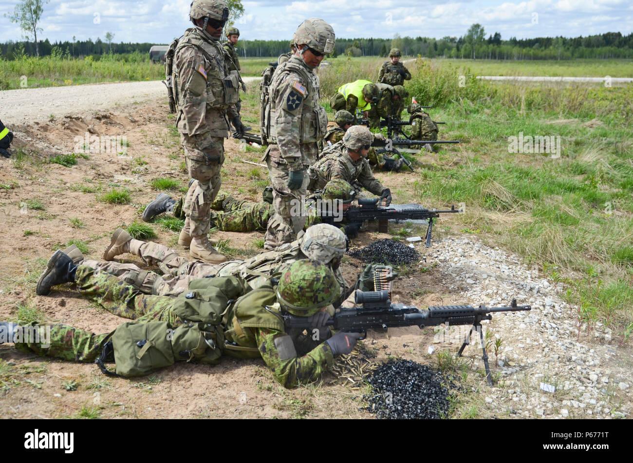 Les soldats de l'armée estonienne estonien de la Brigade des forces terrestres et des soldats de l'Armée américaine à partir de l'Escadron d'artillerie, 2e régiment de cavalerie, stationnés hors de Vilseck, Allemagne, tir à tour de rôle sur leurs systèmes d'armes au cours d'un exercice de tir réel interarmes au secteur d'entraînement de la tapa, l'Estonie, le 19 mai 2016. (U.S. Photo de l'armée par le sergent. Steven M. Colvin/libérés) Banque D'Images