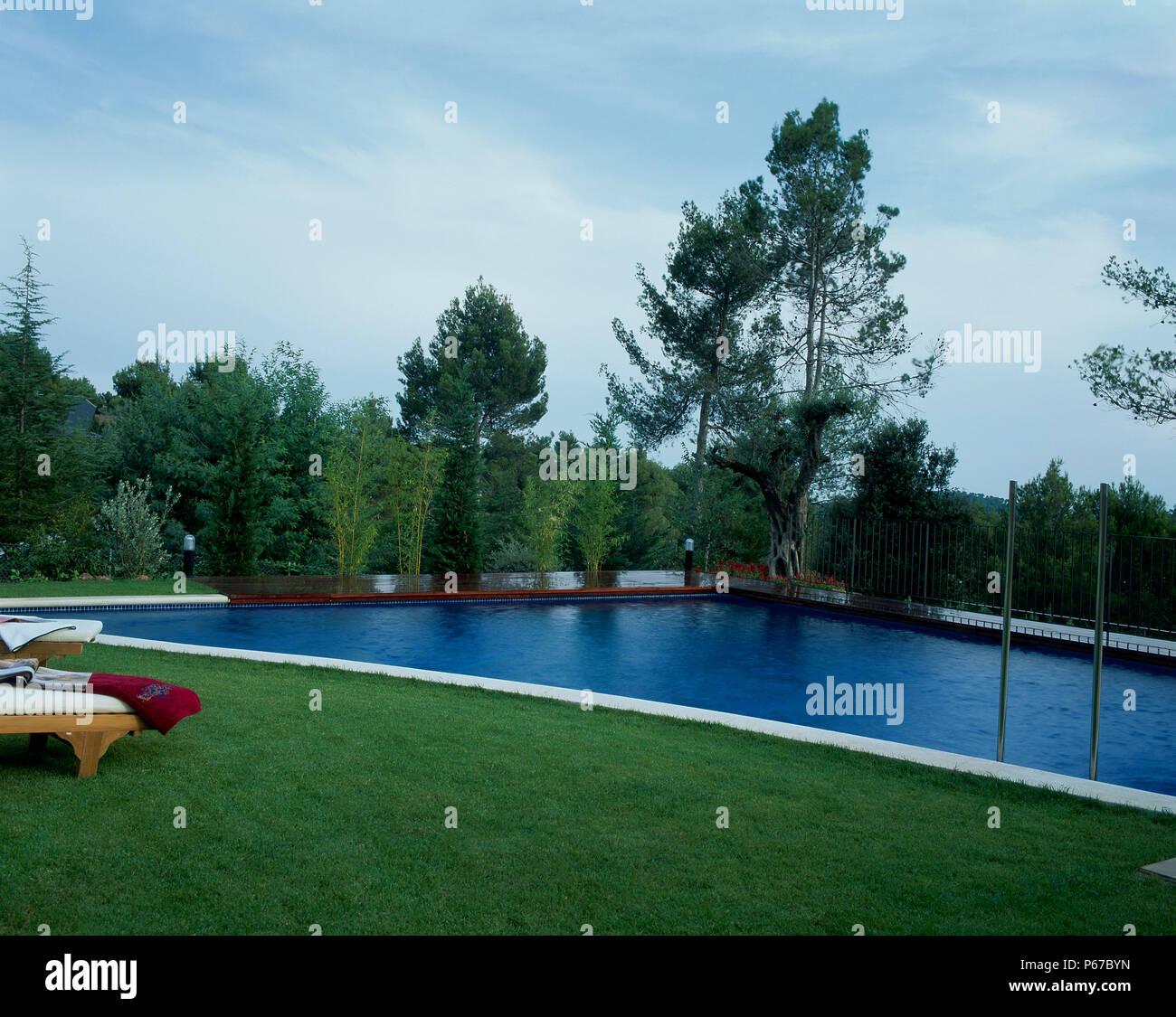 Vue d'une piscine à côté d'une pelouse Banque D'Images