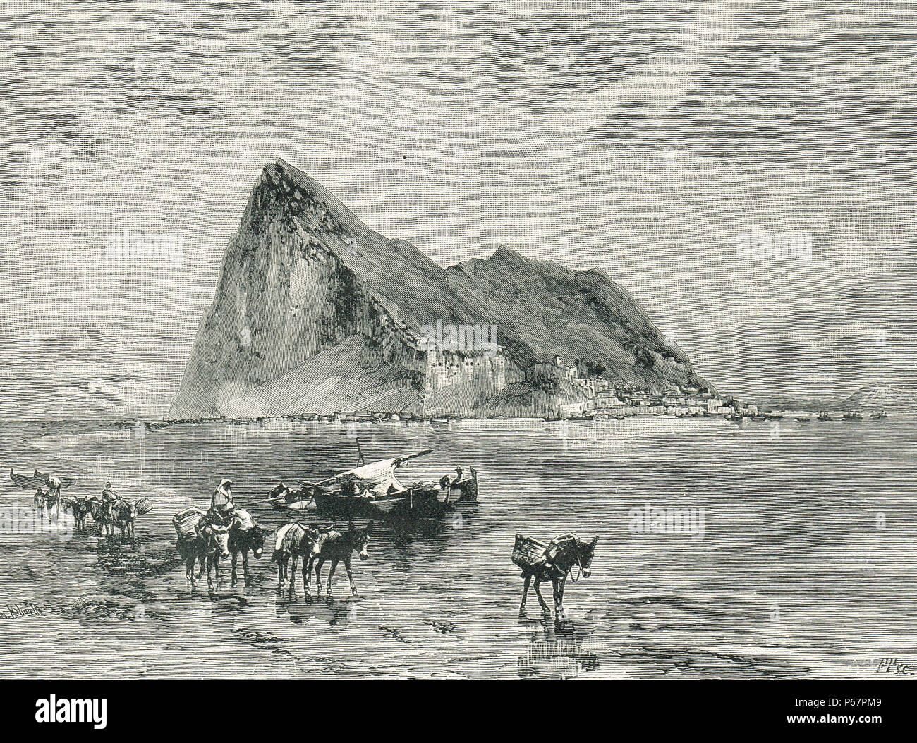 Rocher de Gibraltar, l'illustration du xixe siècle Photo Stock