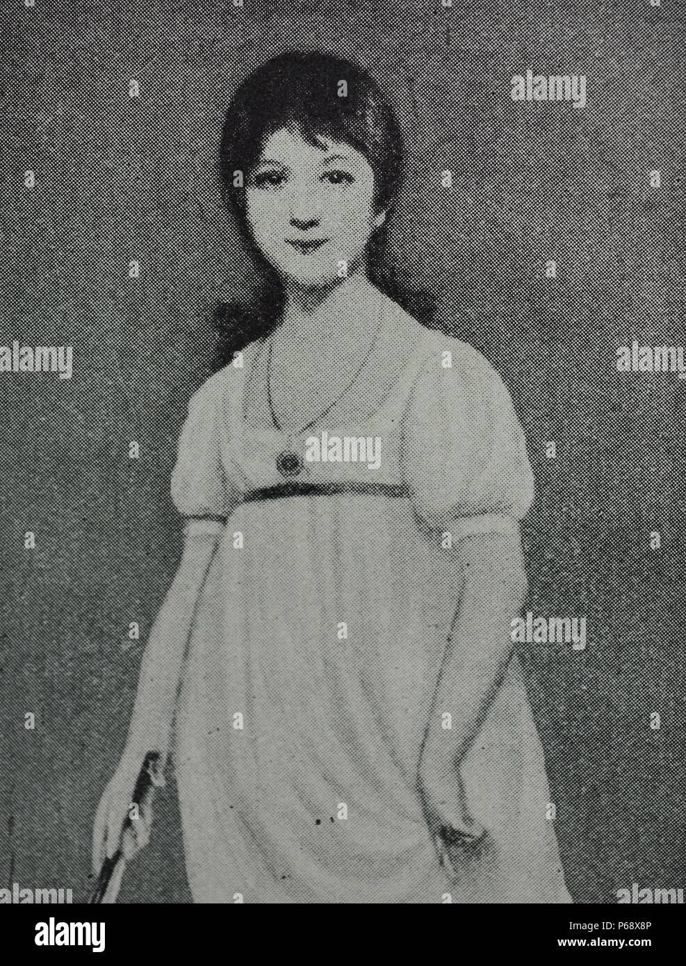 Littérature Romantique Anglaise portrait d'une jeune jane austen (1775-1817), un romancier anglais