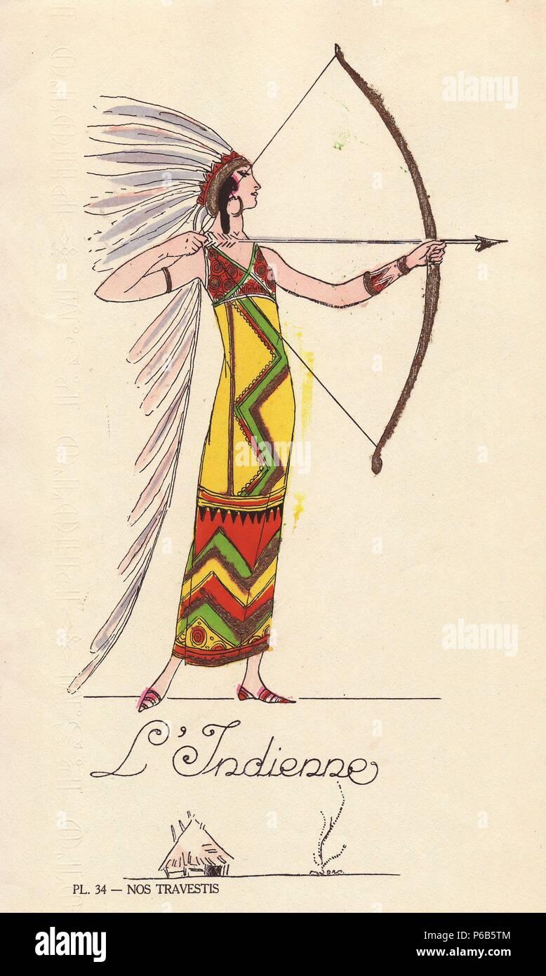 Woman In Fancy Dress Costume Comme D Indiens D Amerique L Indienne