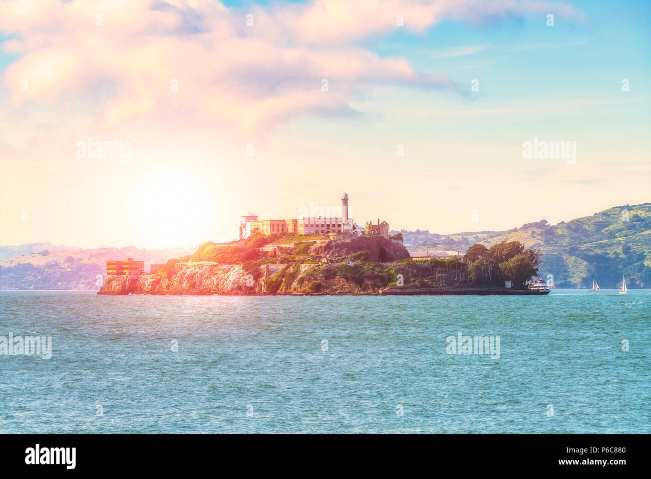 Alcatraz, San Francisco, USA.2016.04.20: l'île d'Alcatraz sur journée ensoleillée en été. Photo Stock