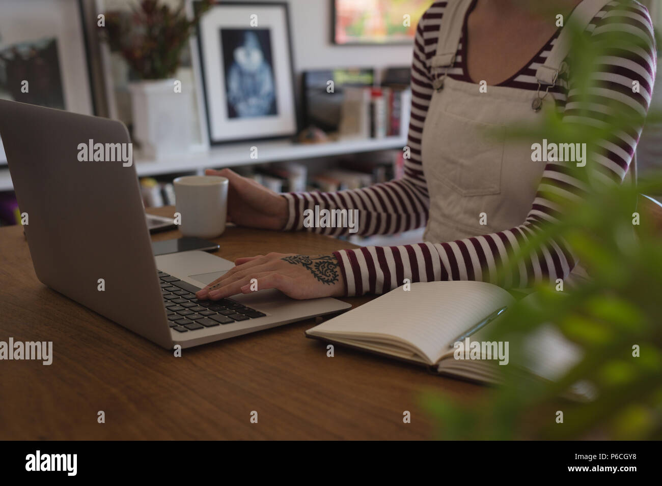 Woman using laptop at home Banque D'Images