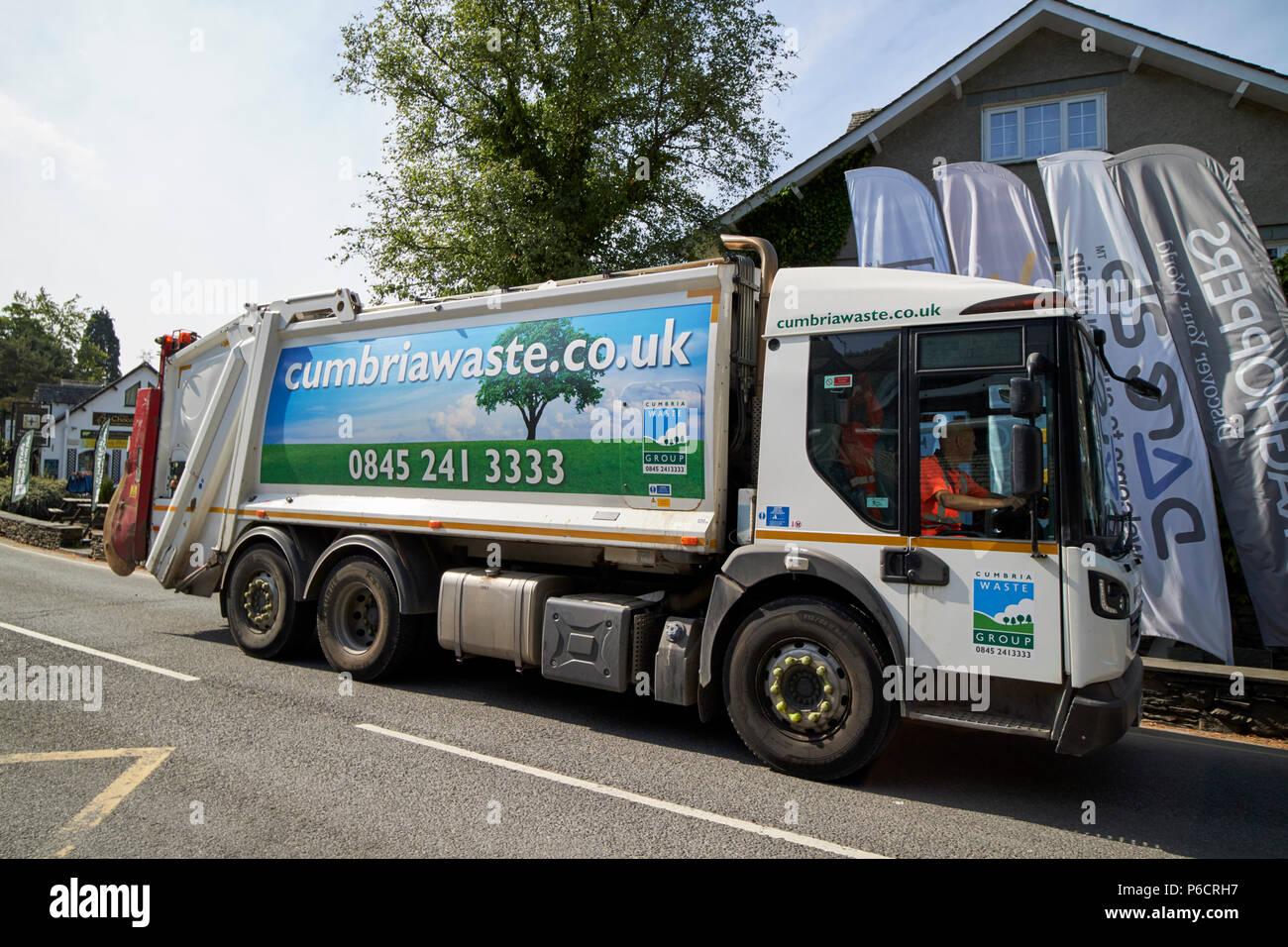 Déchets cumbria compagnie privée bin collection service à Grasmere cumbria lake district angleterre uk Photo Stock
