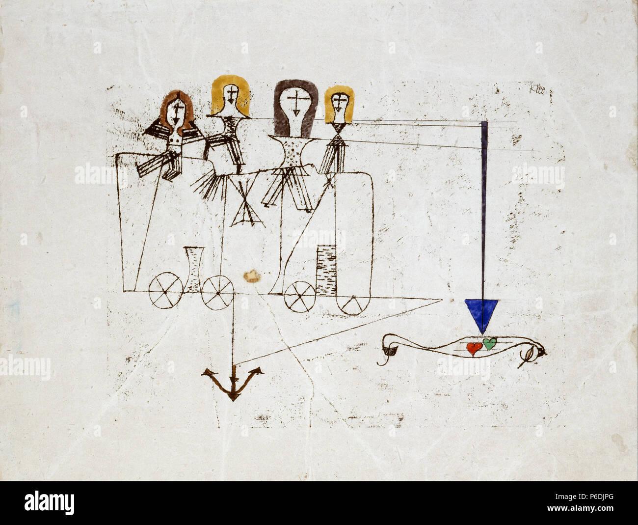 . La Vertu Wagon (à la mémoire du 5 octobre 1922) 192259 Paul Klee - la vertu Wagon (à la mémoire du 5 octobre 1922) - Banque D'Images