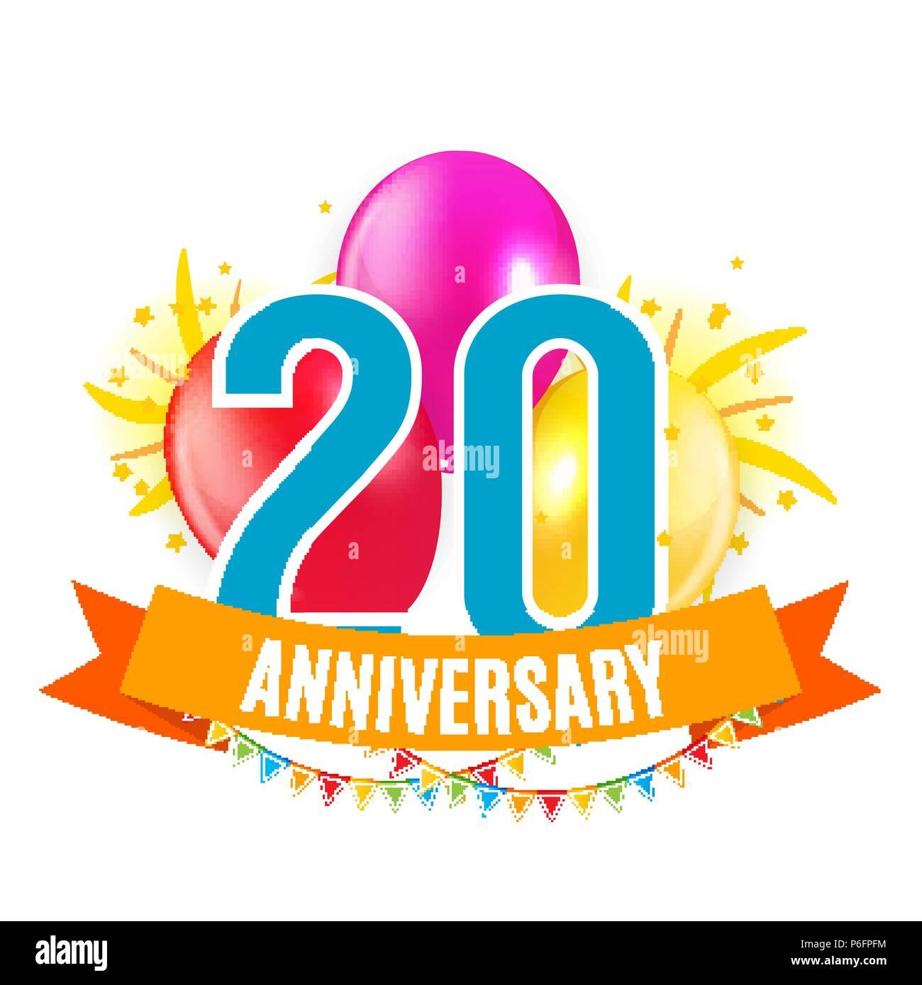 20 Ans Anniversaire Modele Felicitations Cartes De Vœux Avec Des Ballons Invitation Vector Illustration Image Vectorielle Stock Alamy