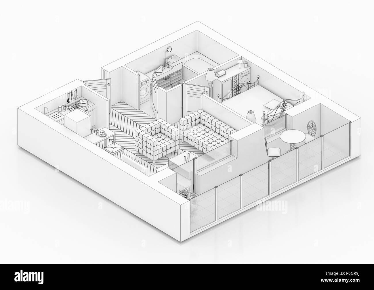 Plan D étage Dessin De Ligne Sur Un Fond Blanc Des