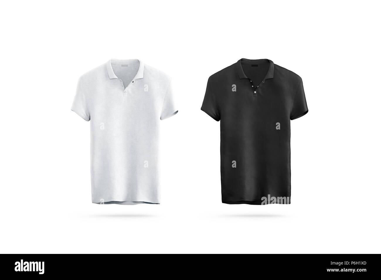 Noir et blanc polo blanc maquette isolée, vue avant, rendu 3d. T-shirt sport vide maquette uniforme. Modèle de conception de vêtements simples. Robe claire en coton à manches courtes de la marque. Photo Stock