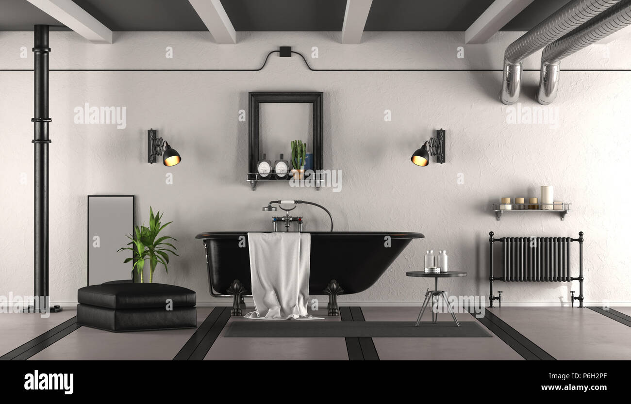 Salle De Bains Rétro Noir Et Blanc Classique Avec Baignoire   Le Rendu 3D
