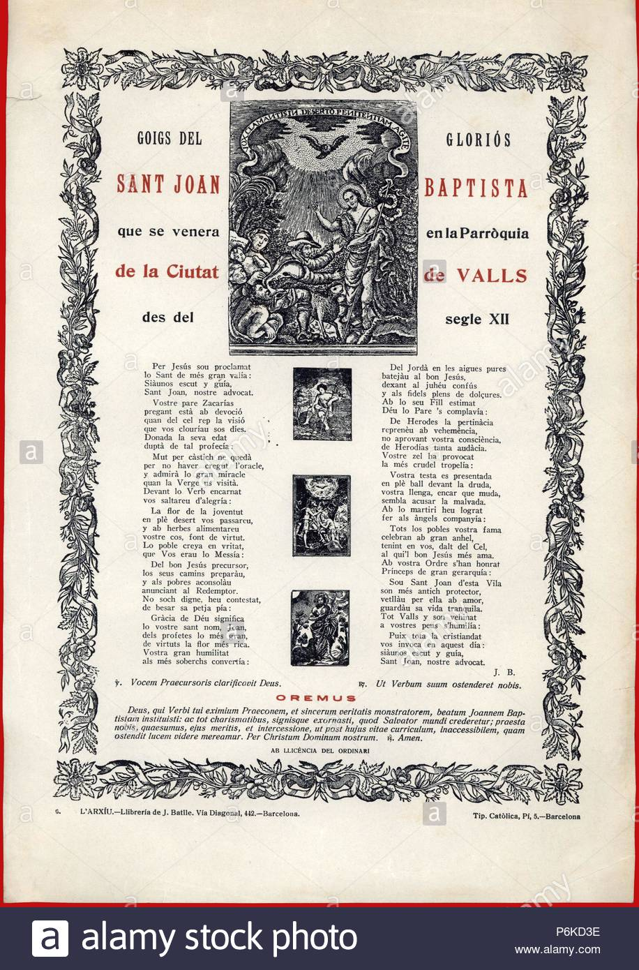 España. Catalunya. Gozos al population internaute San Juan Bautista (5 ac-28 dc). La gravure de 1950. Photo Stock