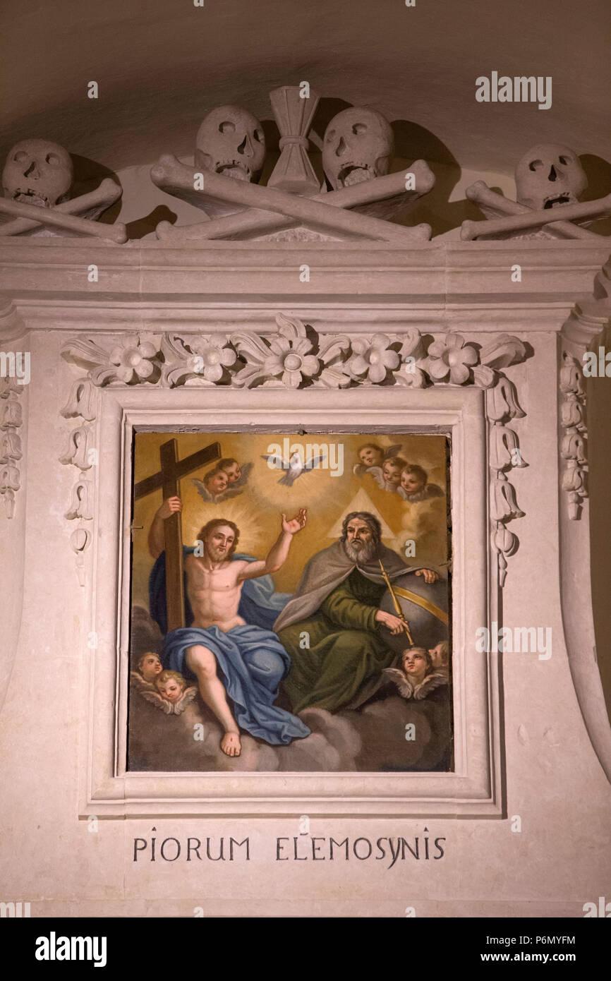 Uggiano la Chiesa de peinture dans l'église, de l'Italie. La Sainte Trinité. Photo Stock