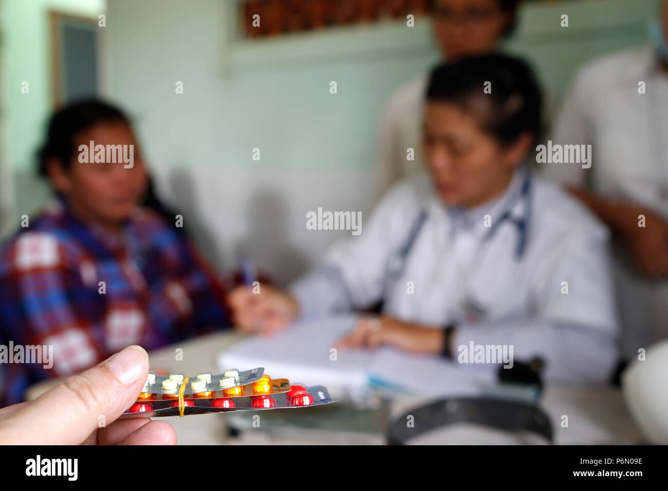 Station de santé clinique dirigée par les Franciscaines Missionnaires de Marie. Ces médicaments. Dalat. Le Vietnam. Photo Stock