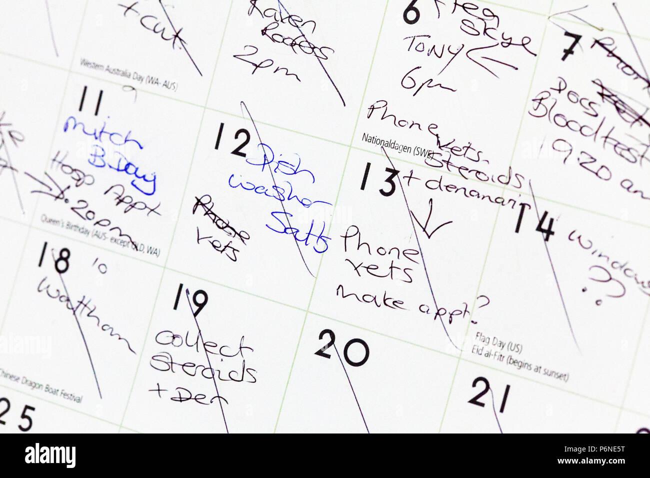 Programme occupé, occupé calendrier, rendez-vous, choses à faire, liste de tâches, calendrier complet, calendrier, surmené, calendrier, rappel, des rappels, des rendez-vous Photo Stock