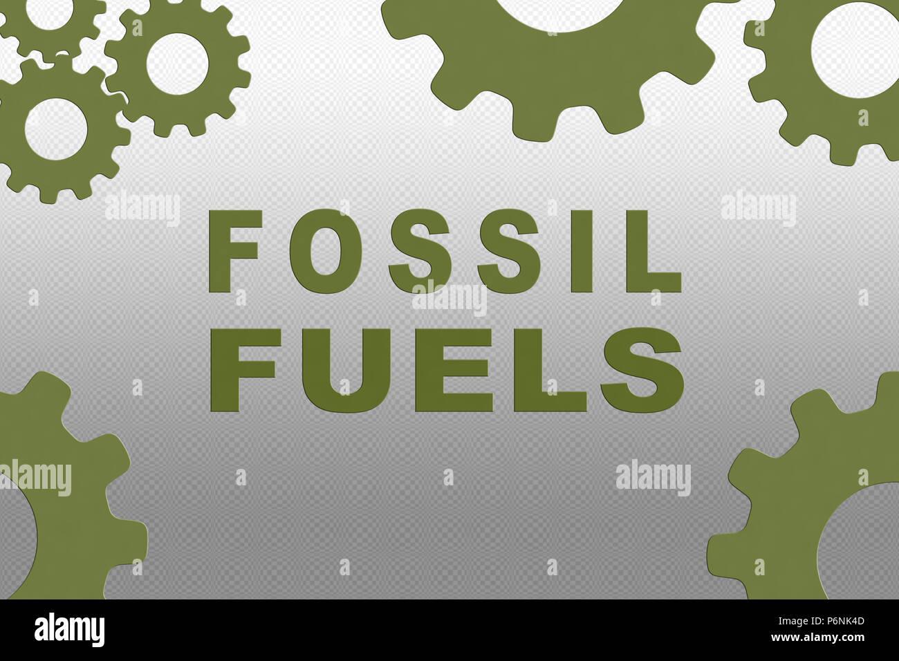 Combustibles fossiles inscription concept illustration avec roue dentée vert chiffres sur fond dégradé gris Photo Stock
