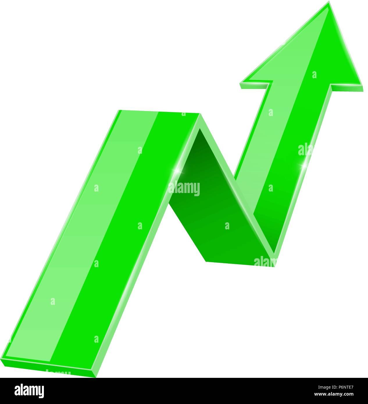5907d2fcc2b2e3 3d vert Flèche vers le haut. Graphique financier Vecteurs Et ...