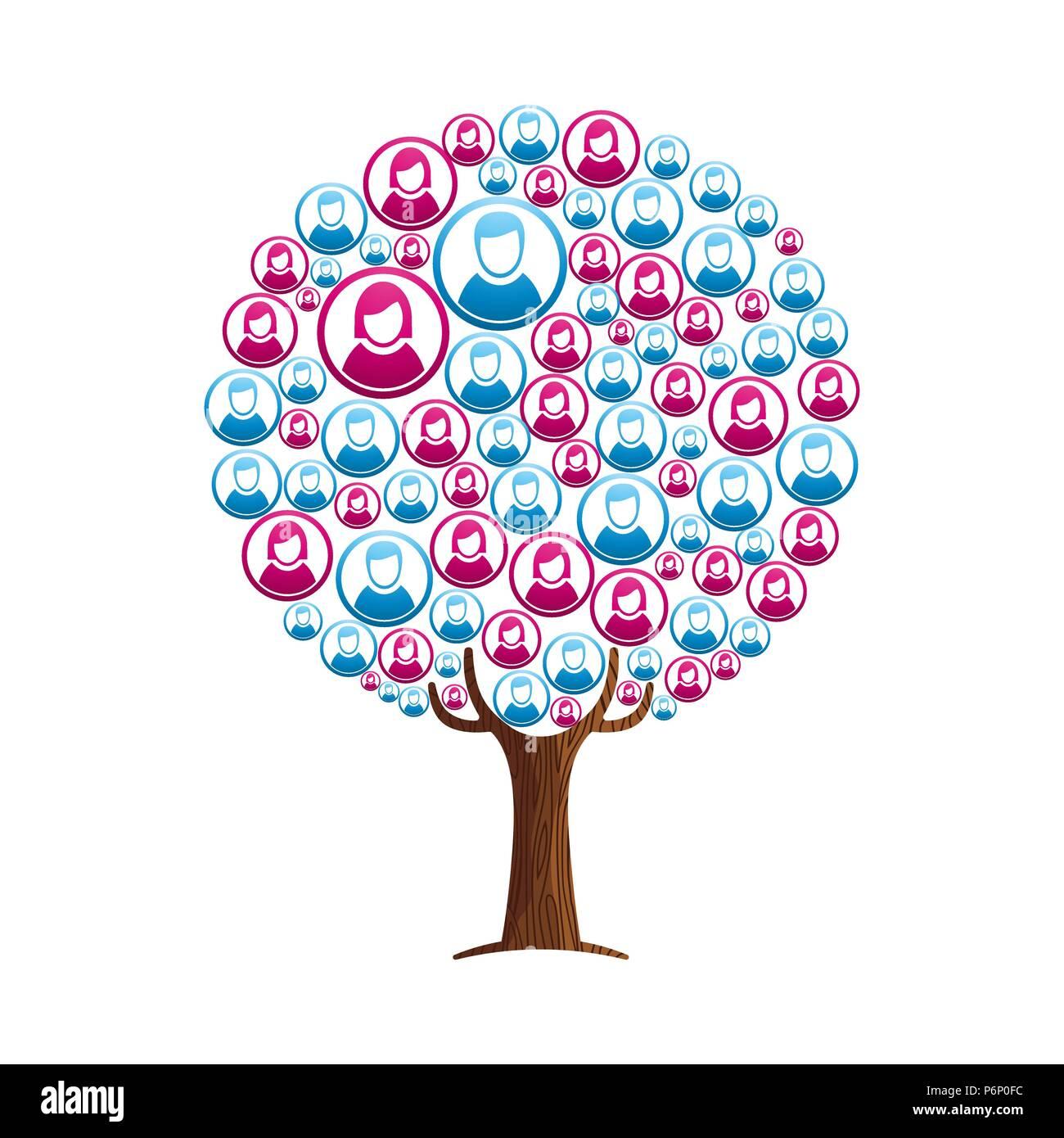 arborescence constitu u00e9e de personnes en ligne avatars profil  concept illustration pour aider la