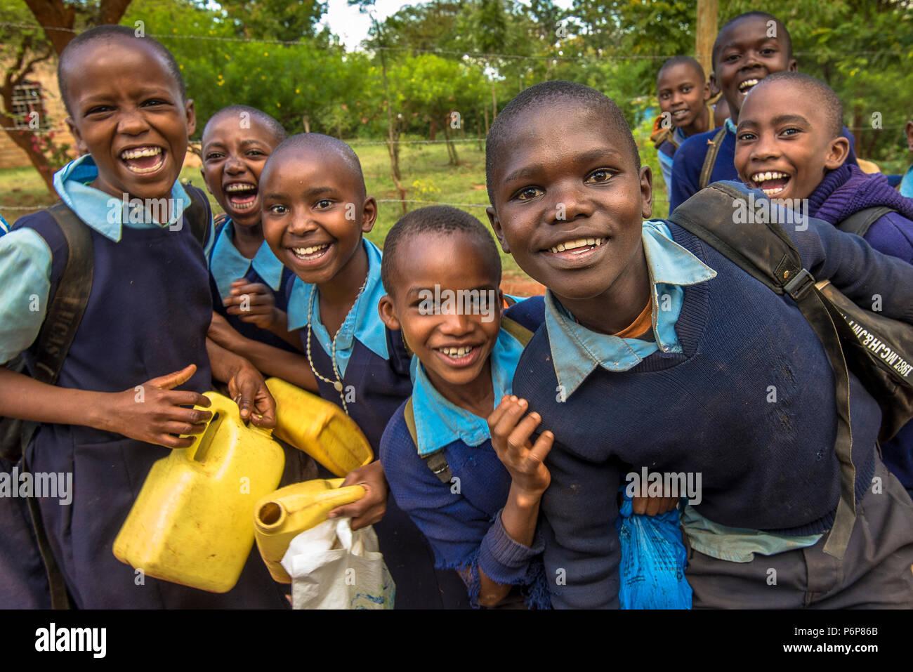 Les écoliers de Machakos, au Kenya. Photo Stock