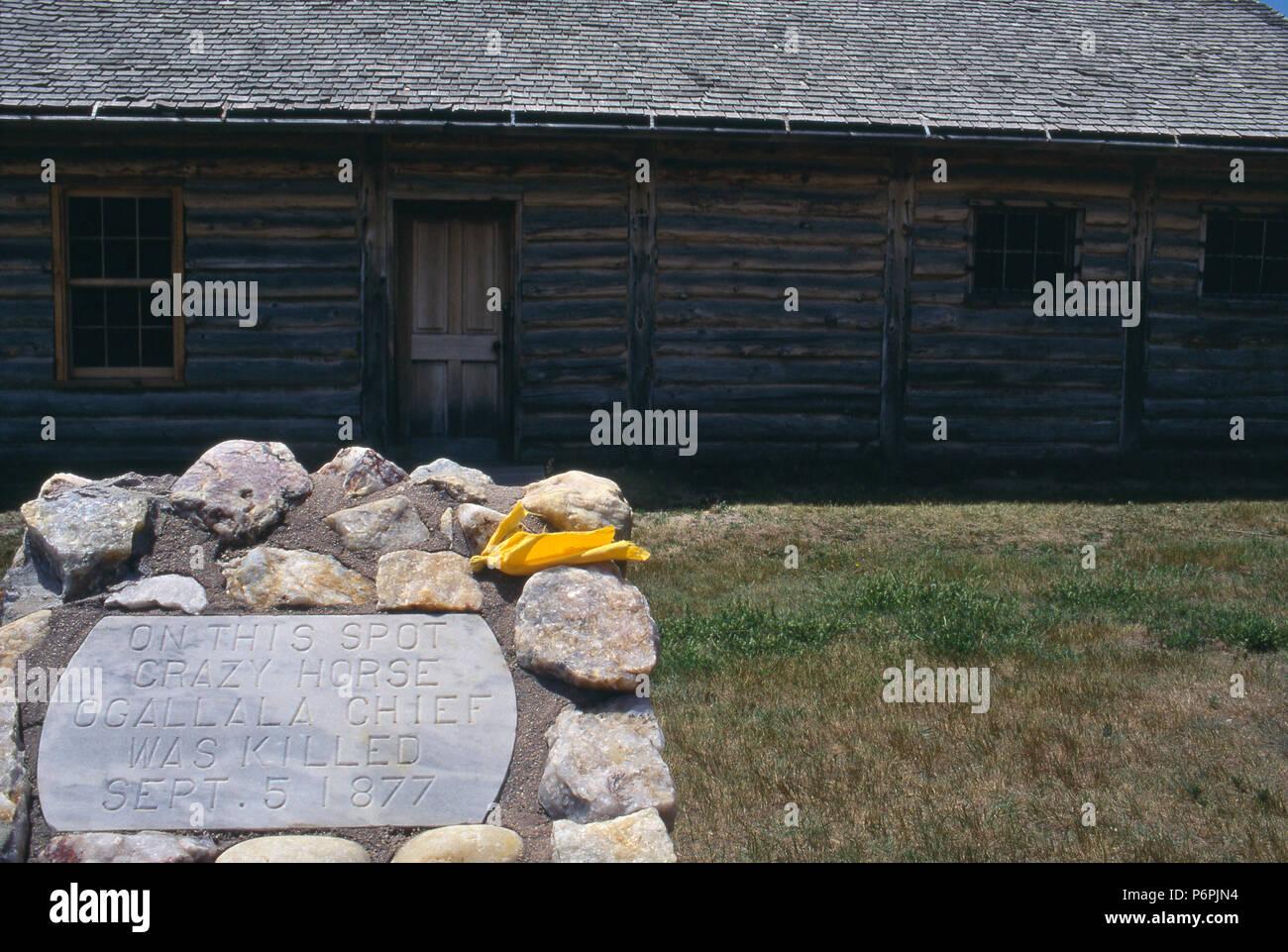 Chef Crazy Horse Memorial à l'endroit où il a été tué, Fort Robinson, New York. Photographie Photo Stock