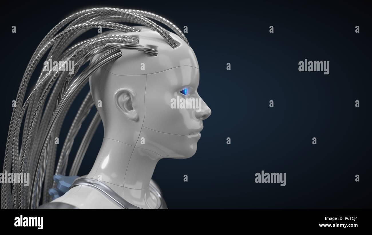 L'intelligence artificielle, moyeu droid blanc version. 3d illustration Photo Stock