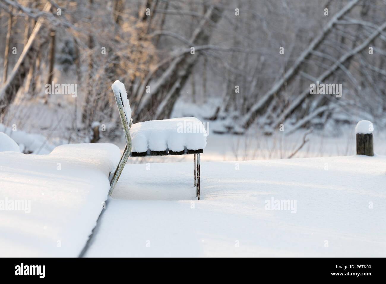 Banc solitaire couverts d'épaisseur de neige intacte avec rivière gelée et arbres givré Photo Stock