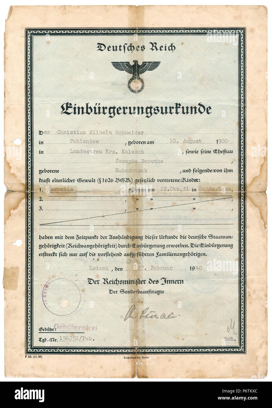 Certificat de Nationalité, 1940, troisième Reich Nazi / Période Allemagne Photo Stock