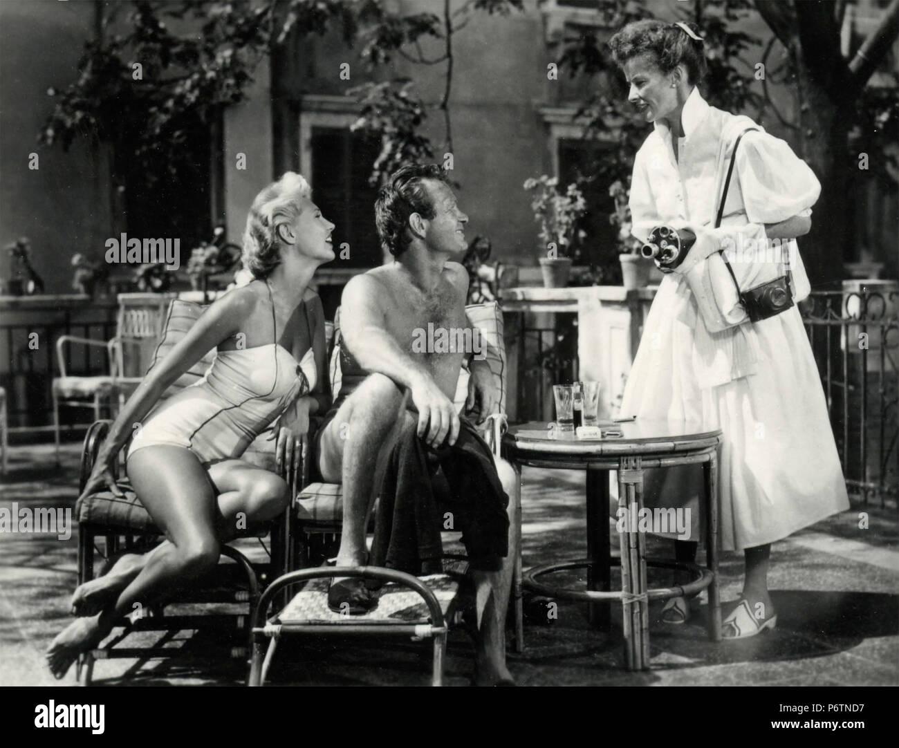 Acteurs Katherine Hepburn, Mari Aldon, et Darren McGavin dans le film Summertime, USA 1955 Photo Stock