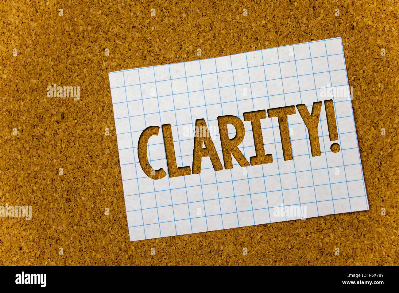 Signe texte montrant la clarté. Certitude photo conceptuelle La pureté Précision Précision Transparence compréhensibilité fond Liège feuilles de carnet d'idées moi Photo Stock
