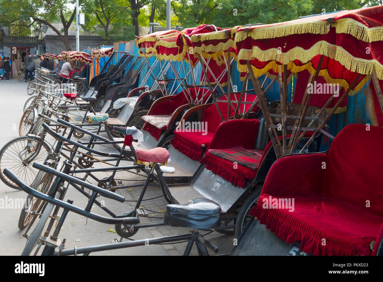 La Chine, Beijing, Zhonglouwan Hutong, Rickshaw Photo Stock