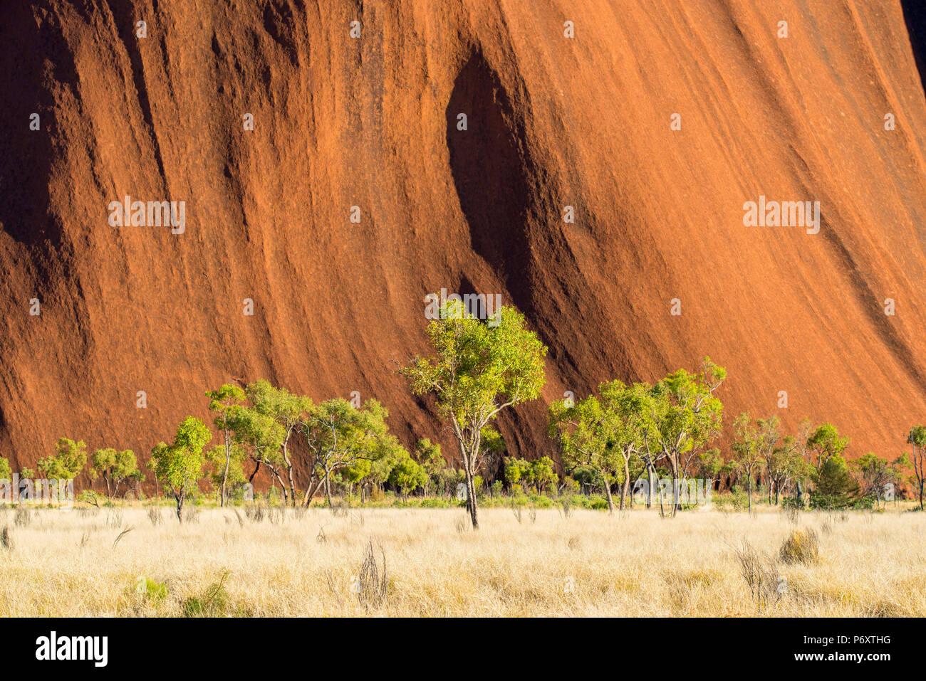 Uluru (Ayers Rock), le Parc National d'Uluru-Kata Tjuta, Territoire du Nord, Centre de l'Australie, l'Australie. Photo Stock