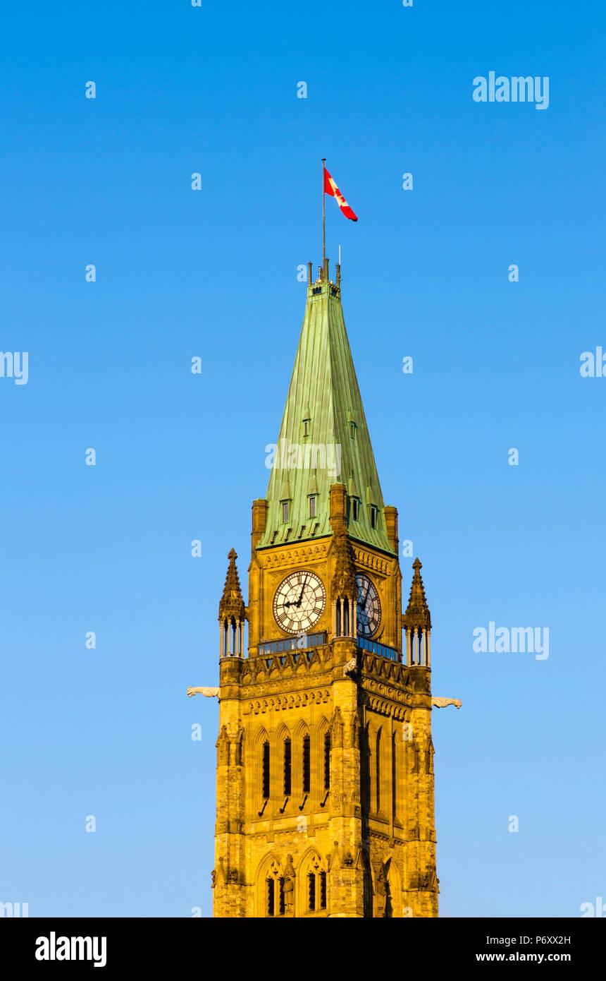 Le Canada, l'Ontario, Ottawa, Parlement du Canada, Édifice du Centre, la Tour de la paix Banque D'Images