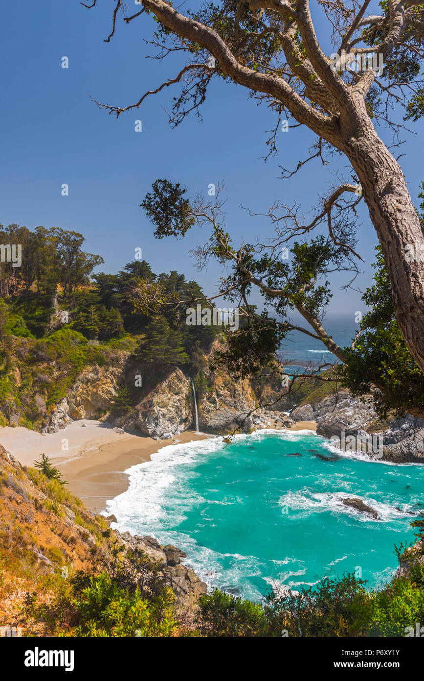 États-unis, Californie, Big Sur, la Pacific Coast Highway (California State Route 1), Julia Pfeiffer Burns State Park, McWay Cove, McWay Falls Photo Stock