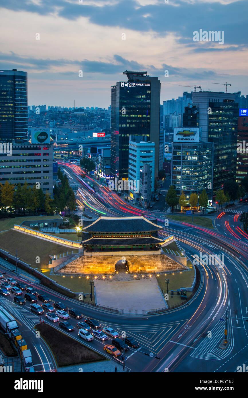 Porte Sungnyemun Gate (Porte Namdaemun), Séoul, Corée du Sud Photo Stock