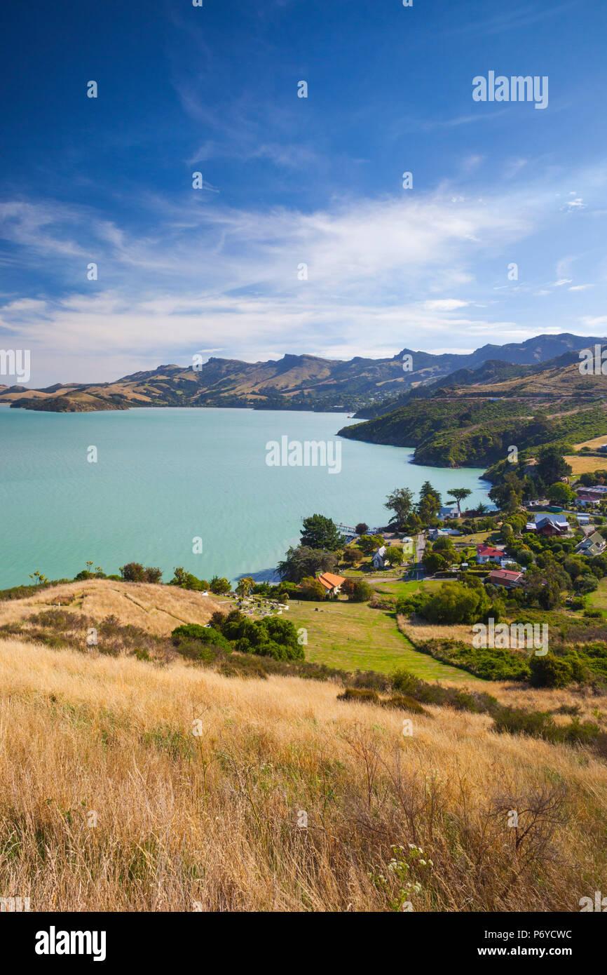 Nouvelle Zélande, île du Sud, Christchurch-Rapaki Rapaki, vue de Bay Banque D'Images