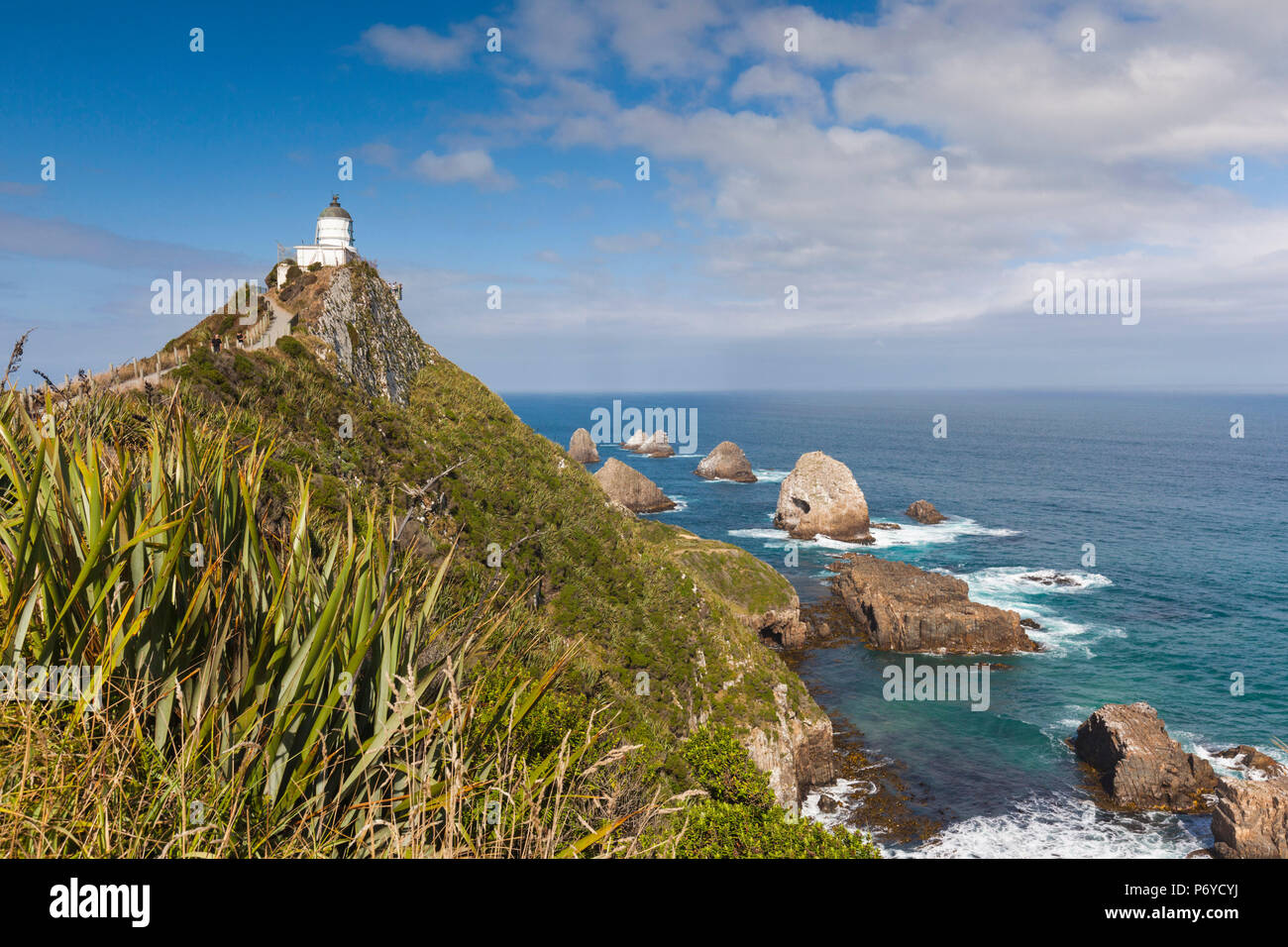 Nouvelle Zélande, île du Sud, Southland, le Nugget Point, Catlins, Nuggett Point LIghthouse, elevated view Photo Stock