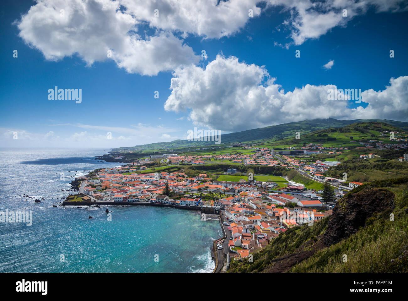 Le Portugal, Açores, île de Faial, Horta, le vieux port de Porto Pim Photo Stock