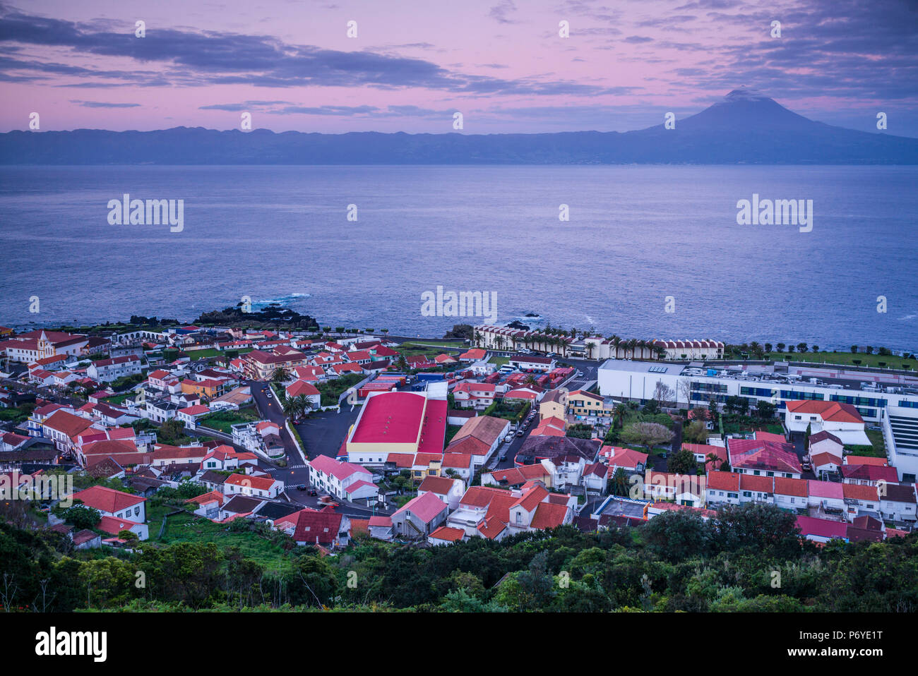 Portugal, Azores, Sao Jorge, Velas, Dawn Photo Stock