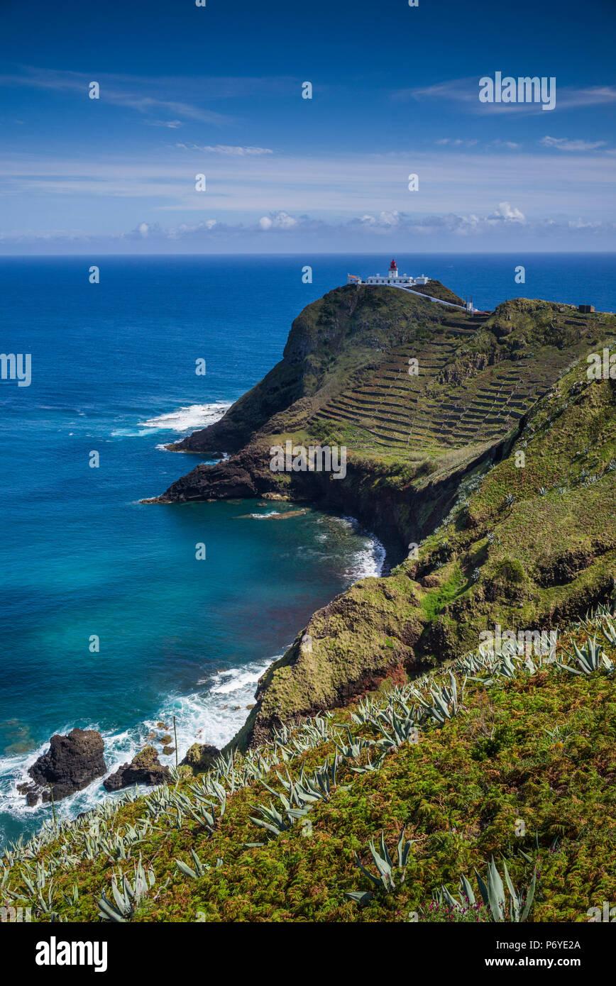 Le Portugal, Açores, l'île de Santa Maria, Ponta do Castelo, phare de Ponta do Castelo Photo Stock