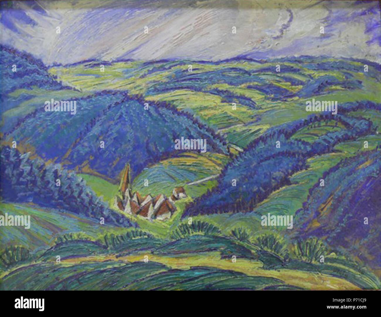 Blick auf Nussbach/Triberg, Öl auf Malkarton; signiert und datiert 1922; 48,5 x 63 cm . 1922226 Waldemar Flaig Blick auf Nussbach Banque D'Images