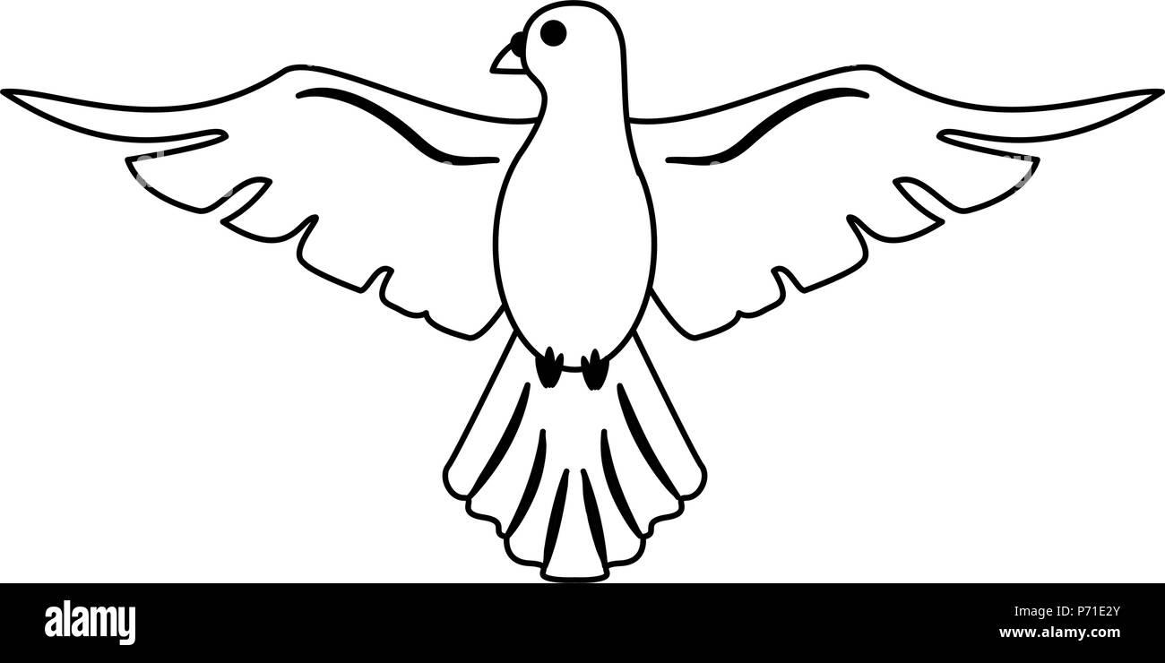 Colombe Symbole Dessin Anime En Noir Et Blanc Image Vectorielle Stock Alamy