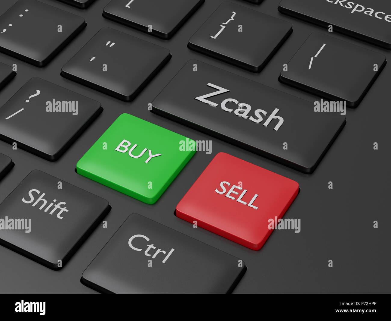 3D render of clavier de l'ordinateur avec Zcash bouton. Concept Cryptocurrencies. Banque D'Images