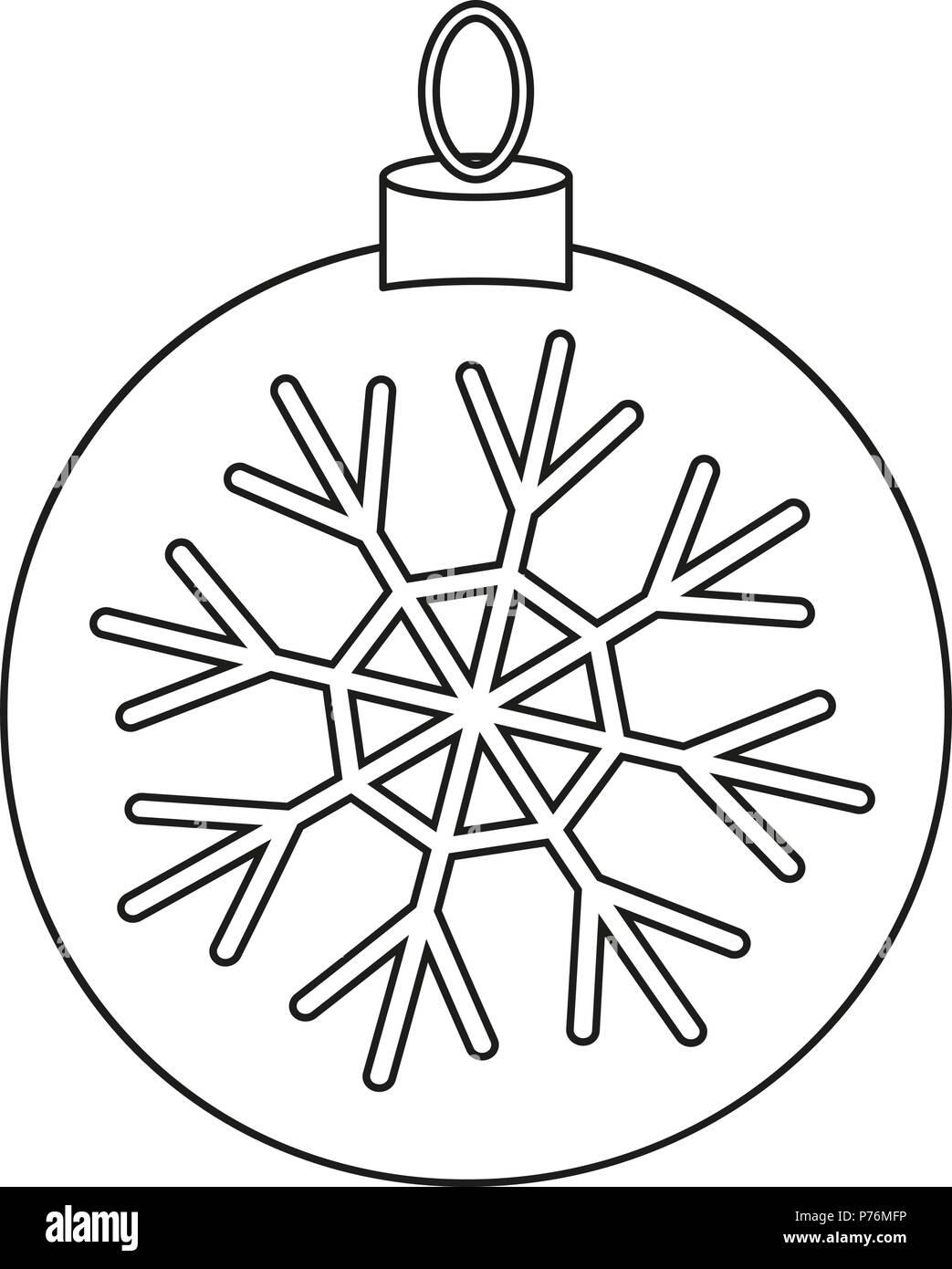 Les Dessins Au Trait Noir Et Blanc Boule De Noël Vecteurs Et