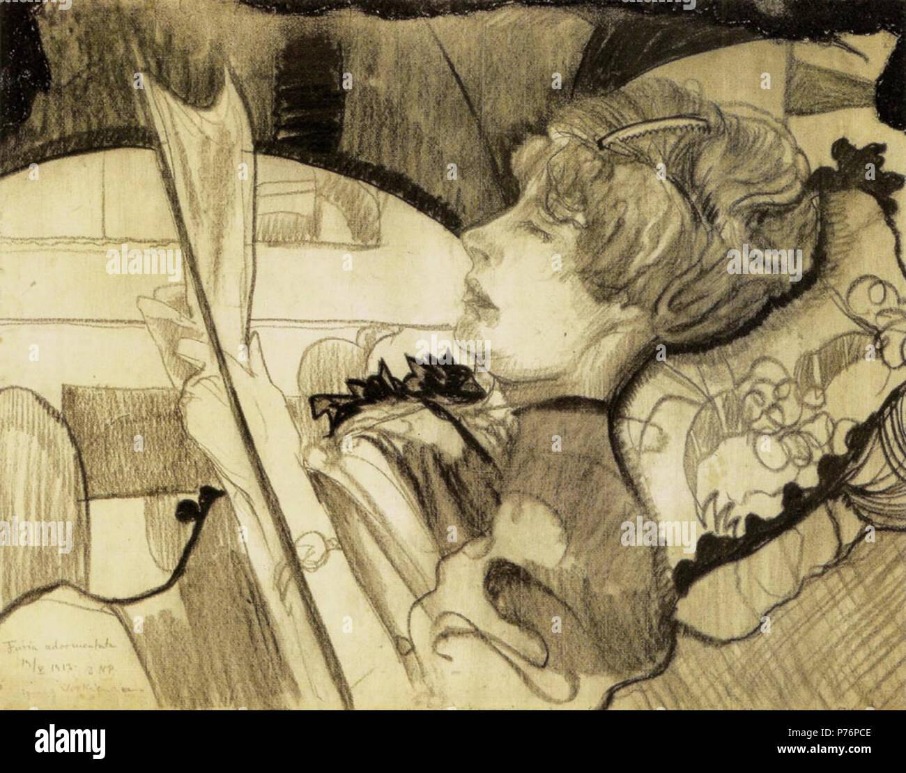 Polski: 'Adormentata wgiel Furia', na papierze, 48 x 63 cm, Muzeum Sztuki, ód . 19133 Witkacy-Furia Adormentata Banque D'Images