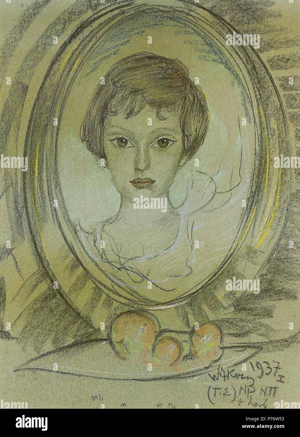 Polski: 'Portret Ireny Raciborskiej', 1937, pastel Je na papierze, 63 x 48 cm, Muzeum Pomorza, rodkowego Supsk . Janvier 1937 4 Raciborskiej Witkacy-Portret Ireny Banque D'Images