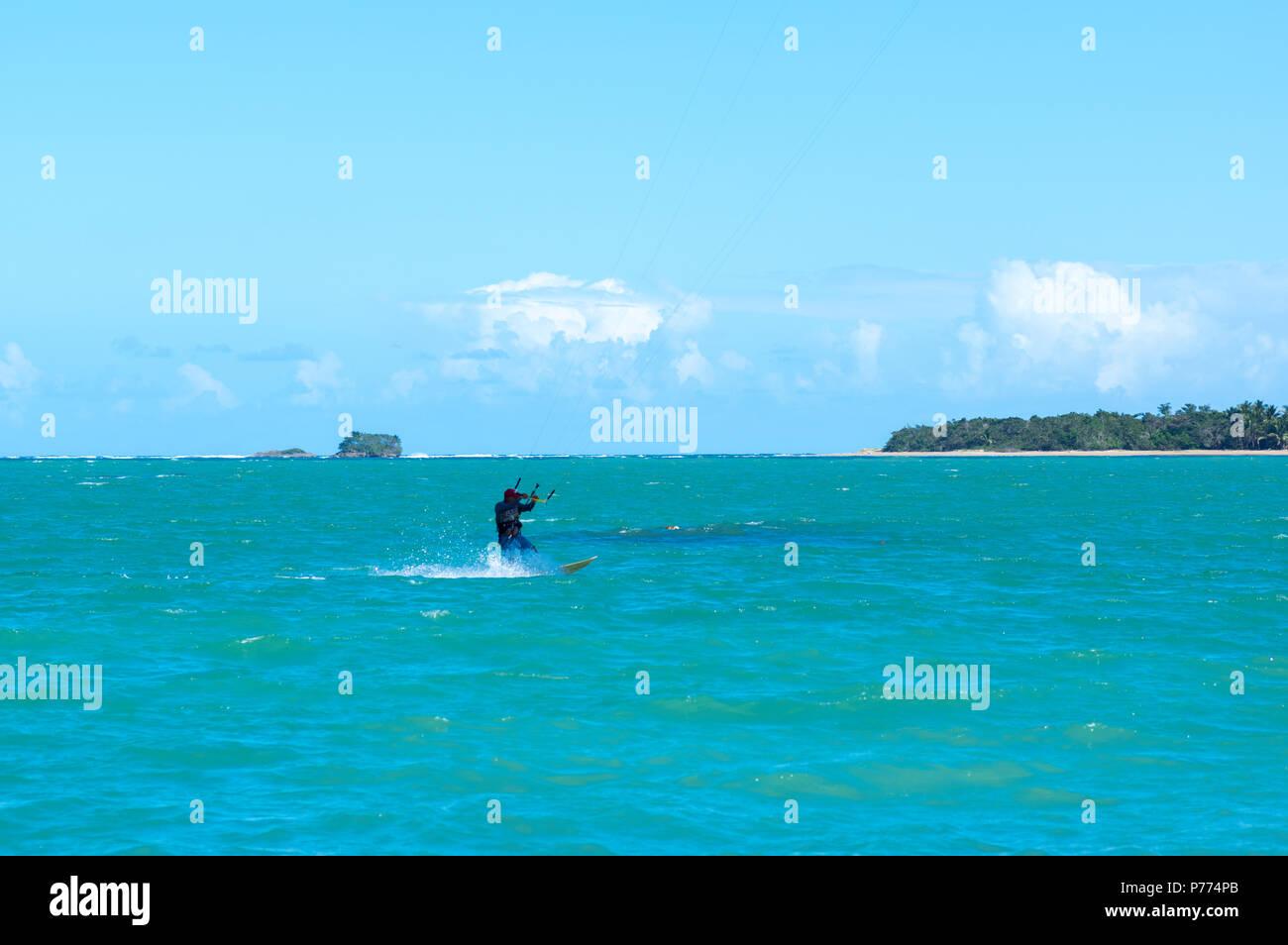 La planche à voile dans les Caraïbes Photo Stock