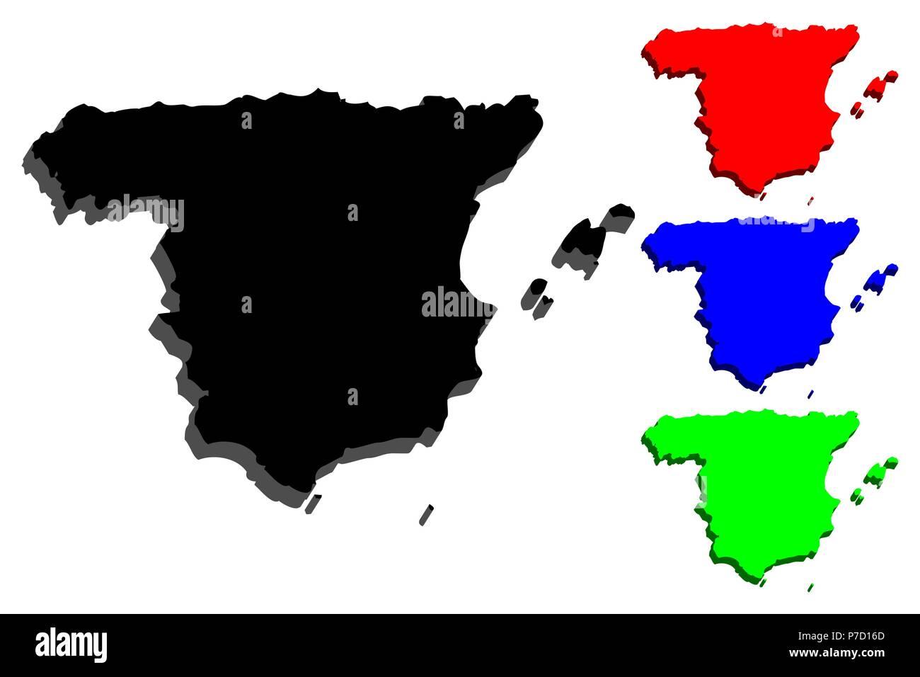 Carte Espagne Noir.3d De La Carte De L Espagne Royaume D Espagne Noir