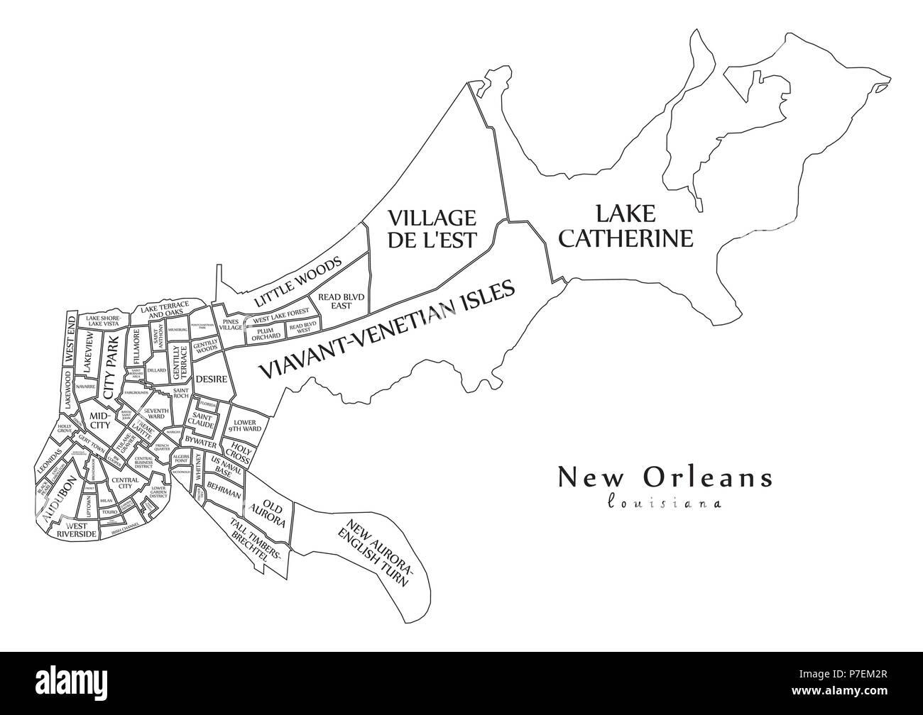 Plan De La Ville Moderne La Nouvelle Orleans En Louisiane Ville Des Usa Par Les Quartiers Et Les Titres Contour Plan Image Vectorielle Stock Alamy