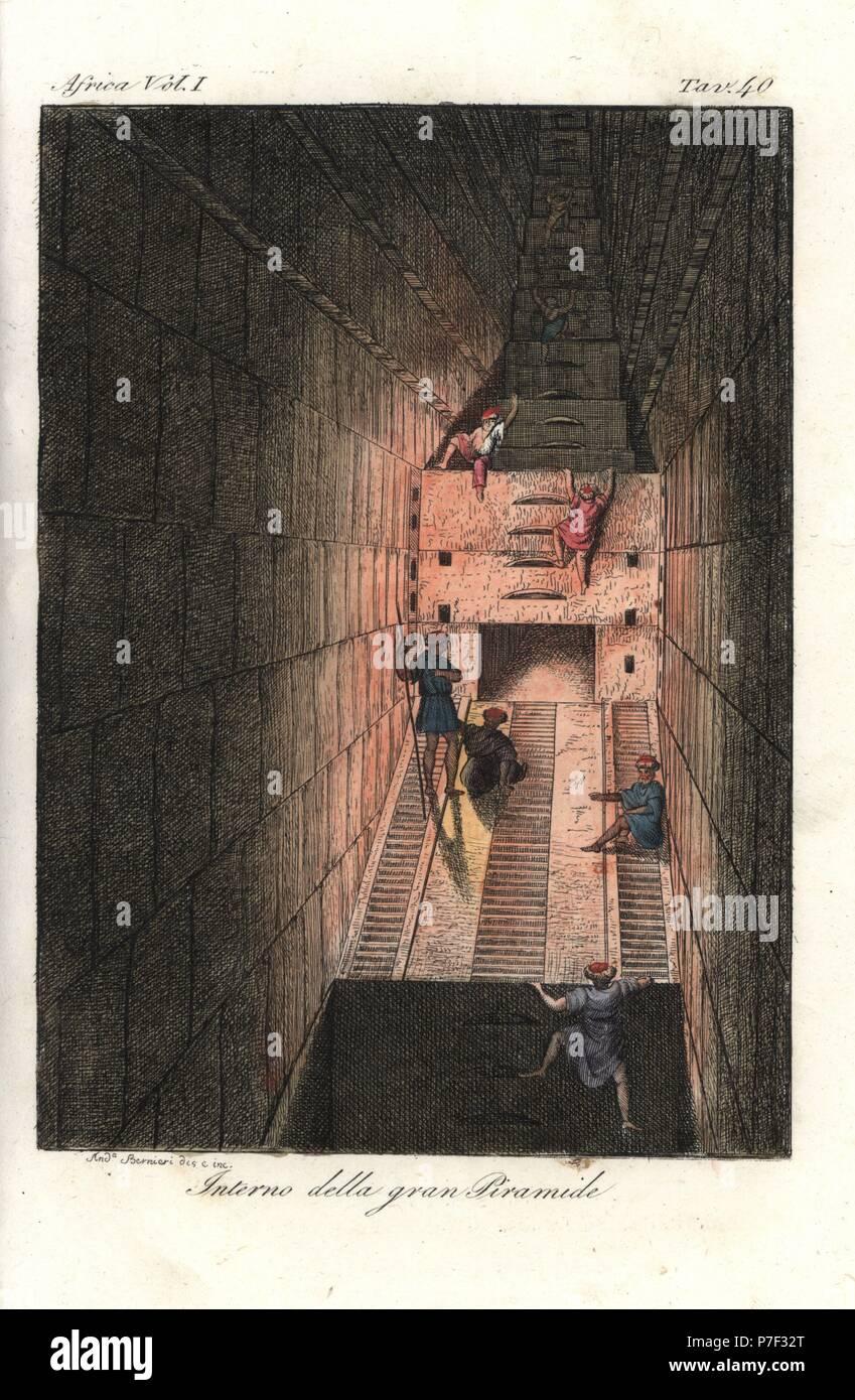 intrieur de la grande pyramide de khops khoufou giza egypte les hommes arabes avec des torches murs descalade et descaliers dans une pice troite