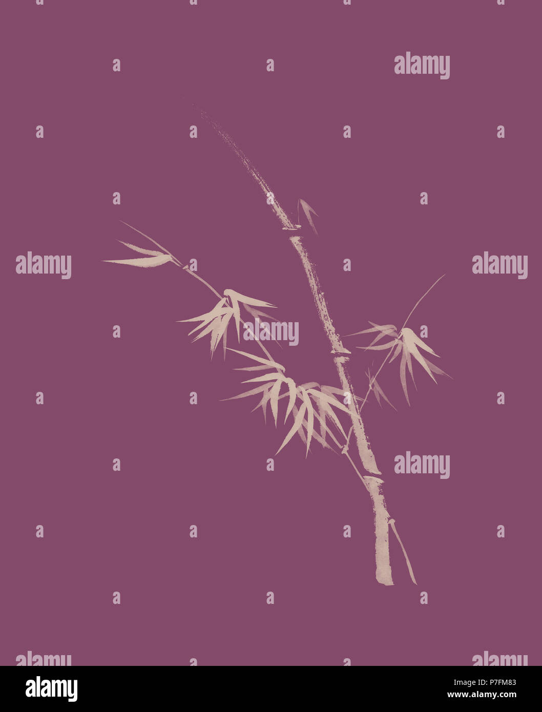 Conception artistique exquis dans oriental Zen japonais style de peinture à l'encre de la tige de bambou avec les jeunes feuilles, illustration sur dusty Photo Stock