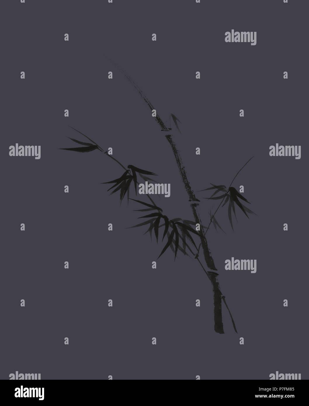 Conception artistique exquis dans oriental Zen japonais style de peinture à l'encre de la tige de bambou avec les jeunes feuilles, illustration sur dark Photo Stock